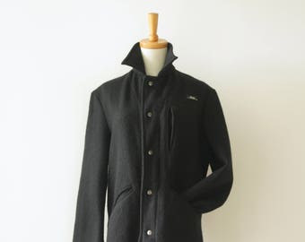 Vintage Black Wool Coat. Mens wool coat. Black winter coat. Nautical coat. Mod coat. Thick wool coat