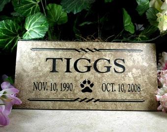 "Pet Memorial plaque. Maintenance Free 12""x6""x3/8"" Weathered Italian Porcelain- 'Tiggs' Design"