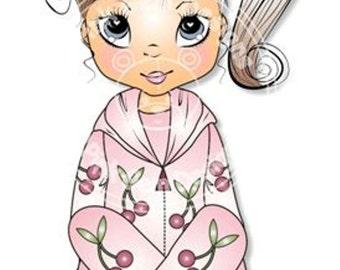 Digital Digi Stamp Poppy  in Onesie. Cute Girl. Girl Birthdays