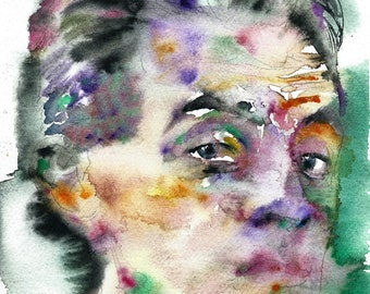 EGON SCHIELE  - original watercolor portrait - one of a kind!