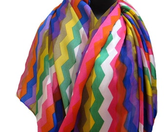 Fashion scarf/ Multicolored scarf/ geometrical print scarf/ georgette scarf/ scarf / colorful scarf /  gift ideas.