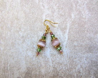 Pink Cats Eye & Crystal Drop Earrings in Antique Gold