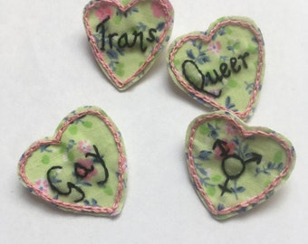 Pastel Floral Queer Pride Hearts