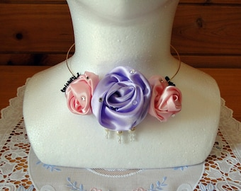 Elegant Satin Rosette Necklace