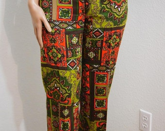 60s Psychedelic Pants / Multi Colored Psychedelic Paisley Hip Hugger Pants / Mod Hip Huggers / Psych Hippie Flare Pants