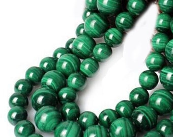 Malachite - drilled - 4/6/8/10 / 12mm to choose from following wire - size about 85/65/45/35/30 beads