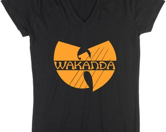 "LADIES Black Panther ""Wakanda"" V-NECK T-shirt"