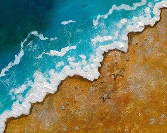 Beach Shore Acrylic Painting Coastal Custom Original Sea Ocean Sea Life