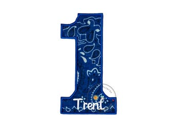 Royal blue bandanna birthday number one