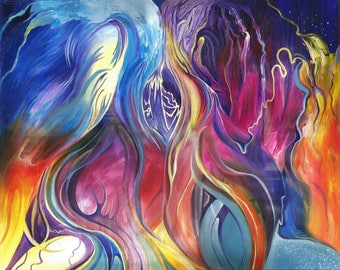 Flames and Stars- Original Oil on Canvas Painting