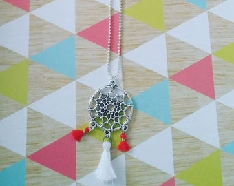 Silver necklace - dream catcher and tassels