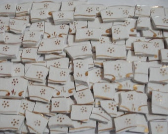 Supplies - Mosaic Tile -  White With Gold Flower in each tiles. Vintage Mosaic Tiles