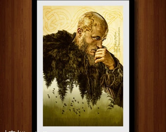 Ragnar Lothbrok Nature Double Exposure Digital Painting Print, Vikings