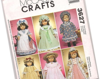 MCCALLS PATTERN 3627, doll dresses and costumes, one size, fits dolls of 18 inches