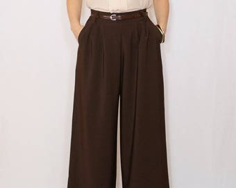 High waist Wide leg pants Chocolate brown pants with pockets Dark brown trousers