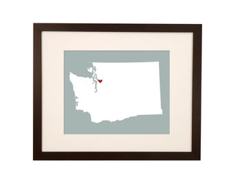 State Art Second Wedding Anniversary Gift Cotton wedding map - Washington State
