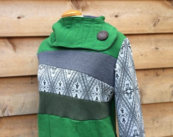 MOSS GREY Hoodie Sweatshirt Sweater Handmade Recycled Upcycled One of a Kind Green Ladies LARGE - Pockets Vintage Print