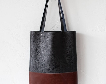 Textured Black & Chestnut Brown Leather Tote bag No.TO-101
