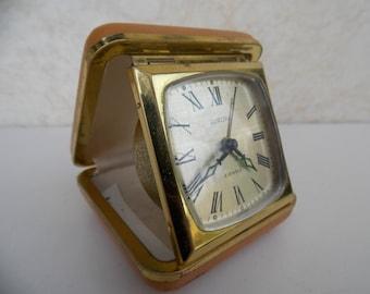 Travel clock, germany clock, mechanical clock, alarm clock, Europa clock, gift idea, decor, table clock, retro clock, small clock, brown