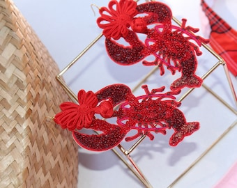 Beaded red lobster hook chinese knot earrings