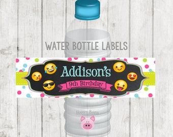 Printable Emoji Water Bottle Labels, Printable Emoji Labels, Emoji Party, Emoji Water Bottle Labels, Emoji Party Favors, Avery Template