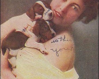 Vintage Lucky dogs postcard from the 1910's of woman and puppies vintage postcard, SharonFosterVintage