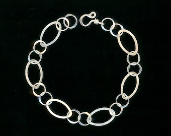 Oval Chain Silver Bracelet Large Oval Circle Silver Birthday Gift Bracelet Chain Link Wire Jewelry Hammered Bracelet Wirework Metal