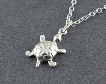 Turtle Necklace, Silver Turtle Charm