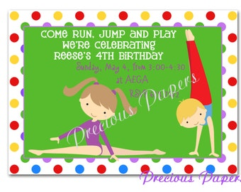 Gymnastics Party Invitations gymnsit birthday invitation boy and girl gymnastics birthday invitation Printable Download within 24 hours