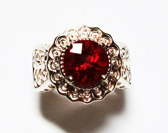 """Labradorite ring, solitaire ring, red, red jewelry, cocktail ring, s 5  """"Debra's Delight"""""""