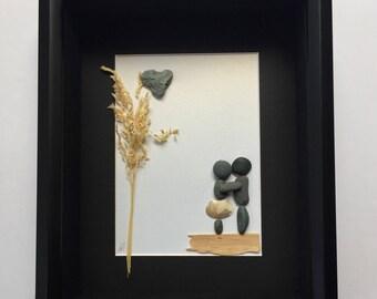 Pebble Art Couple's Gift, Unique Engagement Gift, Couple's Gift, Handmade Engagement Gift, Personalized COUPLE'S Gift, Unique Wedding Gifts