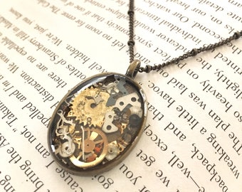 Spare Parts Necklace , Steampunk Jewelry , Resin Necklace