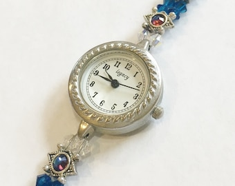 Ocean Blue Swarovski Beaded Watch