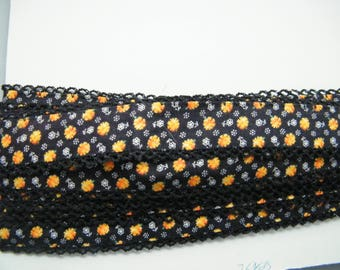 Vintage cotton calico trim with edging, black use for ribbon, inset or trim