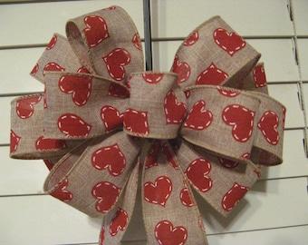 Wreath bow, Valentine bow, burlap linen blend ribbon with red hearts, valentine decor, wedding decor, bridal decor, pew bow, gift bow