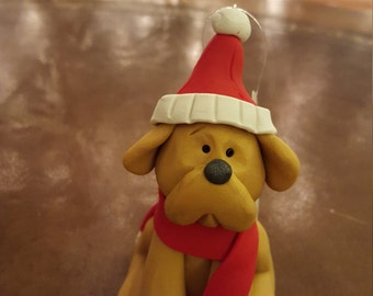 Clay Gold Dog Hand Sculpted Christmas Ornament