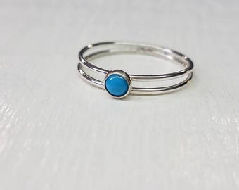 Turquoise Stackable Ring in Sterling Silver Gemstone Stacking Ring