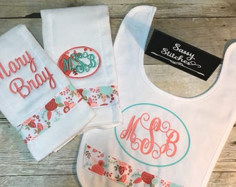 Bib and burp cloths sets, baby bib, baby burp cloth, personalized baby gifts, monogrammed baby Adams, baby shower gifts, baby gift set,