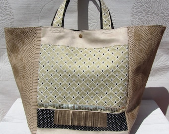 Large tote bag, chic beige and gold, fabric bag Golden scales, boho chic tote.