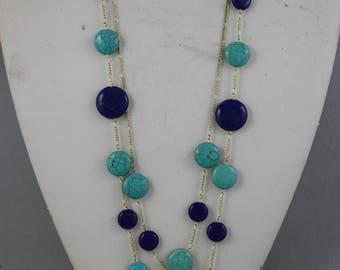 necklaces, lapis lazuli necklaces, magnesite necklaces, blue necklaces, two strand necklaces, chain necklaces,