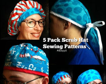 Scrub Hat Sewing Pattern DIY Five Surgical Scrub Hat Sewing tutorial Instructions PDF Download Only #dbapp5