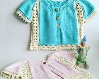 knitting and crochet  baby cardigan & dungarees, summer clothing,gift ideas ,handmade item,newborn,cover up, baby dress,children clothing