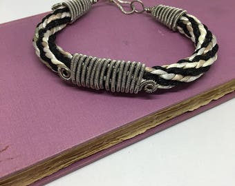 Kumihimo braid bracelet with coiled titanium, jewelry, hand crafted, bracelet,  wire wrapped, kumihimo