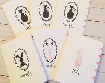 Cat/Bunny Travelers Notebook Insert ~ Printed Insert ~ Daily Insert ~ Weekly Insert ~ Monthly Insert ~ TN ~ Cat TN Insert ~ Bunny TN Insert