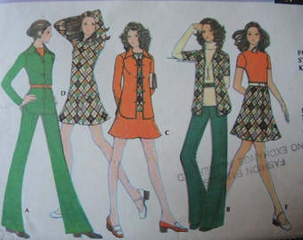 vintage 1970s McCalls sewing pattern 32 misses shirt jacket top  pants and skirt size 12