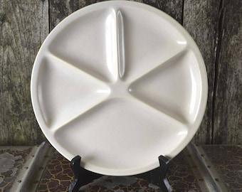 Vintage French White LE CREUSET Fondue/ Pierrade Divided Dinner Plate Ceramic & Divided dinner plate | Etsy