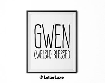Gwen Name Meaning Art - Printable Baby Shower Gift - Nursery Printable - Digital Art Print - Nursery Decor - Typography Wall Decor