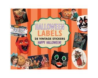 Halloween Labels - 24 Vintage Stickers
