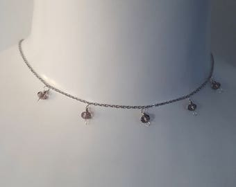 Stainless Steel Jingle Necklace with Cognac Crystals