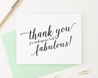 Thank You for Making Me Look Fabulous Wedding Card to Your Stylist, Hair and Makeup Artist, Wedding Vendor Tip Note Card, WIS02